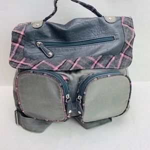 Claire's Girls gray fabrics pink plaid backpack